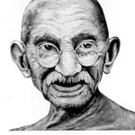 Gandhi as depicted in a poster by Robbie Conal (robbieconal.com)