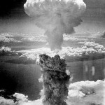 The mushroom cloud from the U.S. A-bomb dropped on Nagasaki, Japan, during World War II