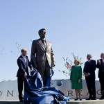 Ronald Reagan statue at National Airport, which was renamed in his honor as his scandals were excused and suppressed.