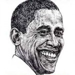President Barack Obama as drawn by Robbie Conal (robbieconal.com)