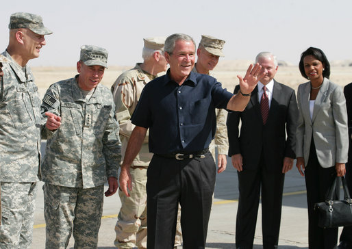 President George W. Bush and members of his national security team in Iraq in 2007