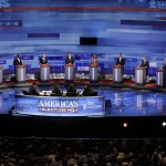 Republican presidential candidates at a debate