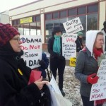 Protesters at Obama's reelection headquarters in Minneapolis
