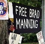 Scene at protest against Bradley Manning's imprisonment in 2010