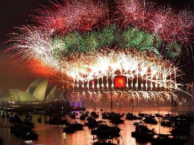 A New Year's scene over Sydney, Australia