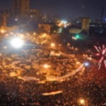 Celebration in Egypt's Tahrir Square after word of Hosni Mubarak's ouster