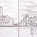 Child's drawing of Lower Manhattan before and after 9/11
