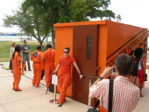 A mock Guantanamo prison cell set up by Amnesty International for a 2008 demonstration in Miami
