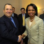 Israeli Defense Minister Ehud Barak meeting Secretary of State Condoleezza Rice in 2007