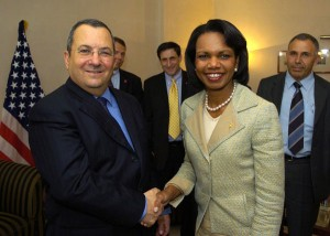 Israeli Defense Minister Ehud Barak meeting Secretary of State Condoleezza Rice in 2007
