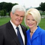 Former House Speaker Newt Gingrich posing with his third wife, Callista