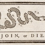 Benjamin Franklin's banner urging the American colonies/states to unite against Great Britain