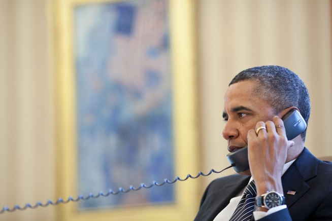 President Barack Obama speaks by phone with Israeli Prime Minister Benjamin Netanyahu on Jan. 12, 2012. (Official White House photo by Pete Souza)