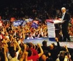 Rep. Ron Paul speaking to a crowd of supporters