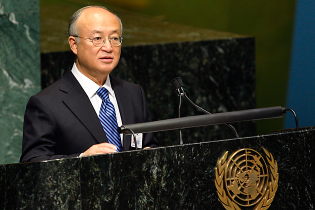 Yukiya Amano, director-general of the International Atomic Energy Agency, speaking to the United Nations