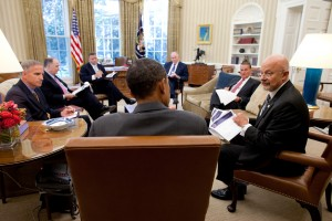 Director of National Intelligence James Clapper talks with President Barack Obama in the Oval Office. (Photo credit: Office of Director of National Intelligence)