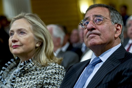 Defense Secretary Leon Panetta with Secretary of State Hillary Clinton at NATO conference in Munich, Germany, Feb. 4 (Official Defense Department photo)