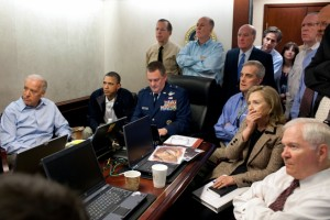 President Barack Obama and his national security team monitor the Special Operations raid into Pakistan that killed Osama bin Laden. (White House photo by Pete Souza)