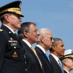 Chairman of the Joint Chiefs of Staff Gen. Martin Dempsey (left) with Defense Secretary Leon Panetta, Vice President Joe Biden, President Barack Obama and former JCS chairman Mike Mullen