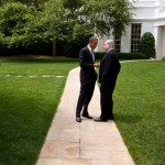 President Obama speaks with Israeli Prime Minister Benjamin Netanyahu outside the White House on May 20, 2011 (White House photo by