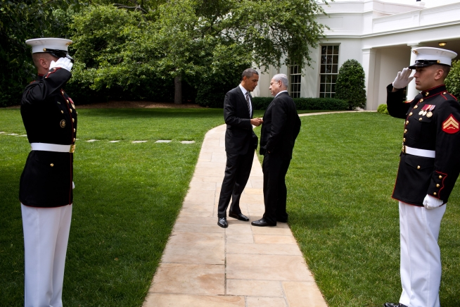 President Obama speaks with Israeli Prime Minister Benjamin Netanyahu outside the White House on May 20, 2011 (White House photo by Pete Souza)