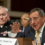 Defense Secretary Leon Panetta testifying before Congress, seated next to Chairman of the Joint Chiefs of Staff Martin Dempsey (Defense Department photo)
