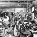 Scene in a sweatshop, circa 1890