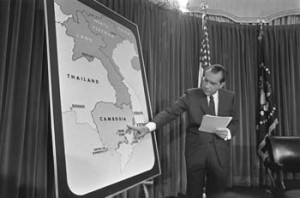 President Richard Nixon addresses the nation about his bombing of Cambodia, April 30, 1969, From ImagesAttr