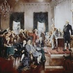 An artist's rendering of the Constitutional Convention in 1787