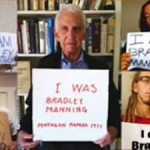 Pentagon Papers whistleblower Daniel Ellsberg and others protest the prosecution of Pvt. Bradley Manning