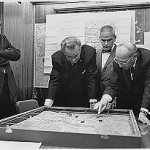 National Security Adviser Walt Rostow shows President Lyndon Johnson a model of a battle near Khe Sanh in Vietnam. (U.S. Archive Photo)