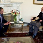 Defense Secretary Leon Panetta meets with Afghan President Hamid Karzai. (Photo credit: U.S. Defense Department)