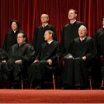 The nine justices of U.S. Supreme Court before Antonin Scalia's death. The court is still awaiting Scalia's replacement.