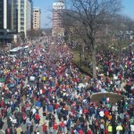 March in Madison, Wisconsin, commemorating the first anniversary of the public uprising against Gov. Scott Walker's anti-union legislation. (Photo from OccupyWallSt.org)