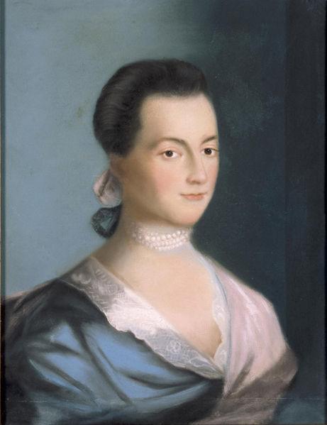 Abigail Adams, wife of the second President John Adams, in a portrait by Benjamin Blythe