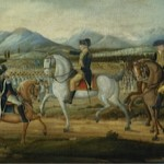 Painting of President George Washington reviewing militia troops sent to put down the Whiskey Rebellion in Western Pennsylvania in 1794.