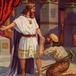 Portrayal of Israelite King David and a beggar