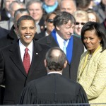 President Barack Obama as he is sworn in on Jan. 20, 2009, with an oath to defend the Constitution. (Defense Department photo by Master Sgt. Cecilio Ricardo, U.S. Air Force)
