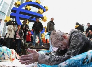 A European protest against the austerity policies that have been imposed in the euro zone, inflicting mass unemployment across much of the Continent. (Photo credit: occupywallst.org) eur