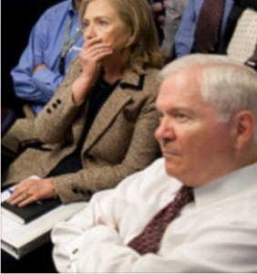 Then-Defense Secretary Robert Gates in Situation Room on May 1, 2011, monitoring the raid that killed Osama bin Laden. (From White House photo by Pete Souza)