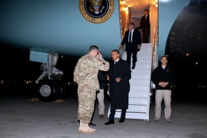 President Barack Obama arriving in Afghanistan on a May 1, 2012, trip to meet with Afghan President Hamid Karzai. (White House photo by Pete Souza)