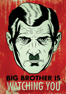 Big Brother poster illustrating George Orwell's novel about modern propaganda, 1984.