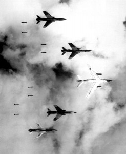 Air Force F-105s bomb a target in the southern panhandle of North Vietnam on June 14, 1966. (Photo credit: U.S. Air Force)""