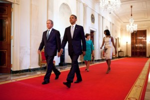 President Barack Obama and former President George W. Bush (with First Lady Michelle Obama and former First Lady Laura Bush) walk to a White House event on May 31, 2012. (Official White House Photo by Chuck Kennedy)