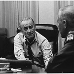Vice President Hubert Humphrey, President Lyndon Johnson and General Creighton Abrams in a Cabinet Room meeting on March 27, 1968. (Photo credit: National Archive)