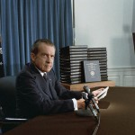President Richard Nixon, trying to head off impeachment over Watergate, releases edited transcripts of his Oval Office tapes on April 29, 1974. (Photo credit: National Archives)