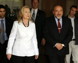 Secretary of State Hillary Clinton meeting with Israel's right-wing Foreign Minister Avigdor Lieberman in Jerusalem on July 16, 2012. (Photo credit: Department of State)