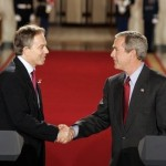 British Prime Minister Tony Blair and U.S. President George W. Bush shake hands after a joint White House press conference on Nov. 12, 2004. (White House photo)