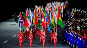 Athletes carrying flags of their nations at closing ceremony of the London Olympics. (Photo credit: London 2012 Olympics)