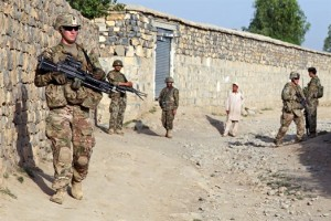 U.S. and Afghan soldiers patrol in Khost province in Afghanistan, seeking information about improvised explosive devices. (Photo credit: Army Sgt. Kimberly Trumbull)